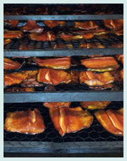 Racks of tasty, freshly smoked Ted's Trout